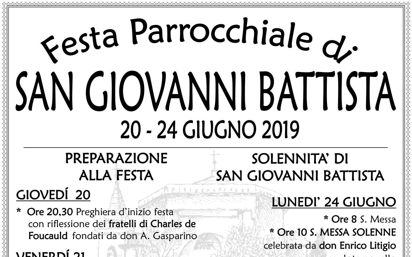 Programma Festa Patronale 2019