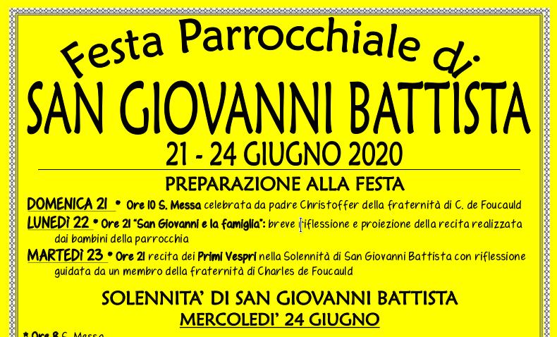 Festa San Giovanni Battista 24 giugno